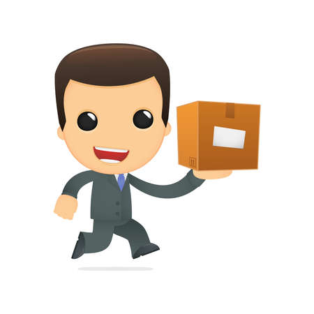 courier service: funny cartoon boss Illustration