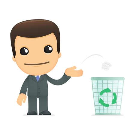 environmental suit: funny cartoon boss Illustration