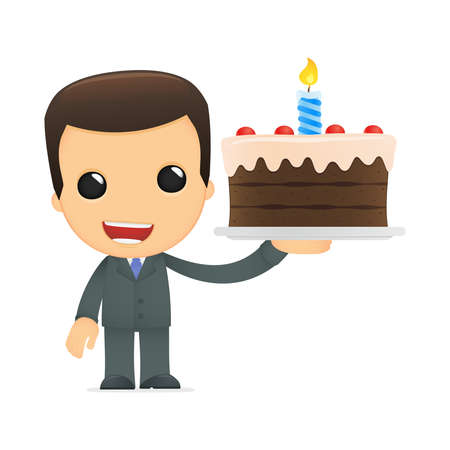 adult birthday party: funny cartoon boss Illustration