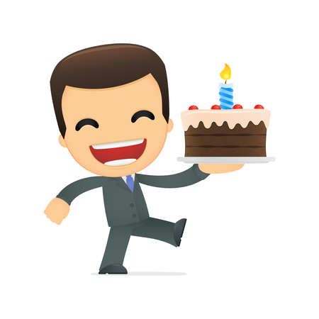 happy employee: funny cartoon boss Illustration
