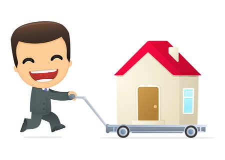 buy house: funny cartoon boss Illustration