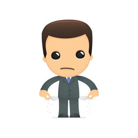 hombre pobre: jefe de divertidos dibujos animados