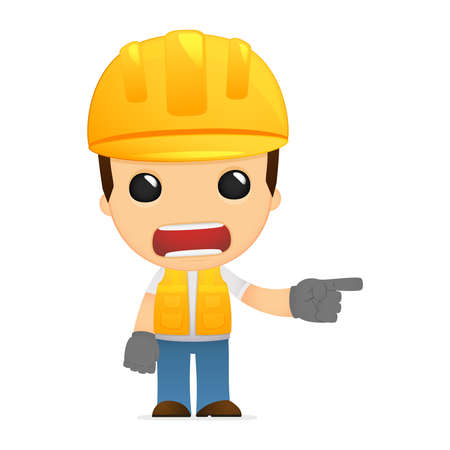unhappy worker: funny cartoon builder Illustration