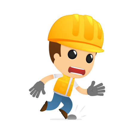 construction worker cartoon: funny cartoon builder Illustration