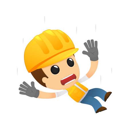 accidente trabajo: constructor de divertidos dibujos animados Vectores
