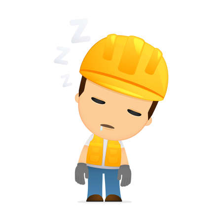 tired worker: funny cartoon builder Illustration