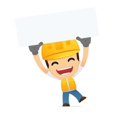 safety message: funny cartoon builder Illustration