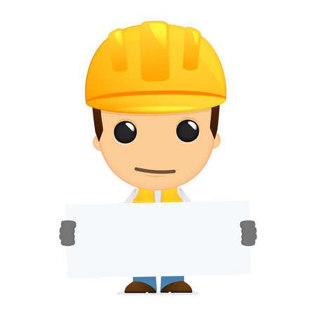 advertising construction: funny cartoon builder Illustration
