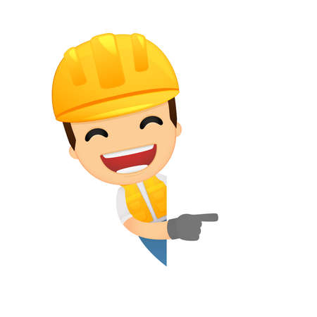 safety hat: funny cartoon builder Illustration