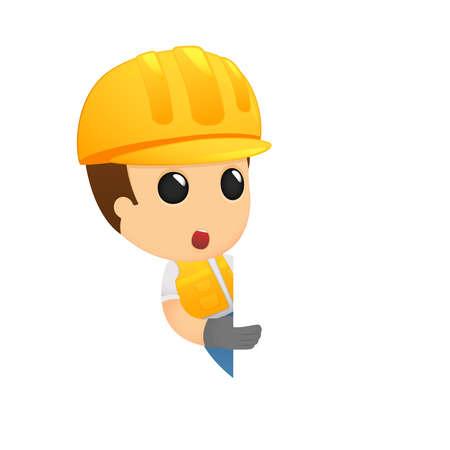 grappige cartoon bouwer