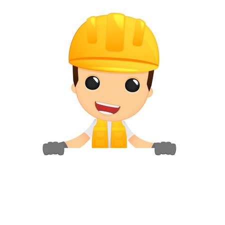 worker cartoon: funny cartoon builder Illustration