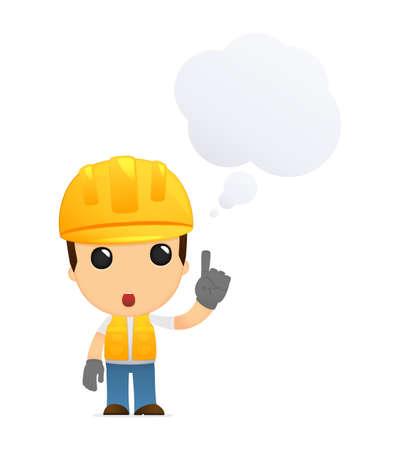 industry worker: funny cartoon builder Illustration
