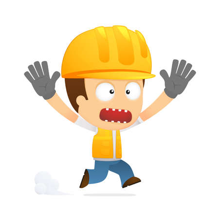 builder cartoon: funny cartoon builder Illustration