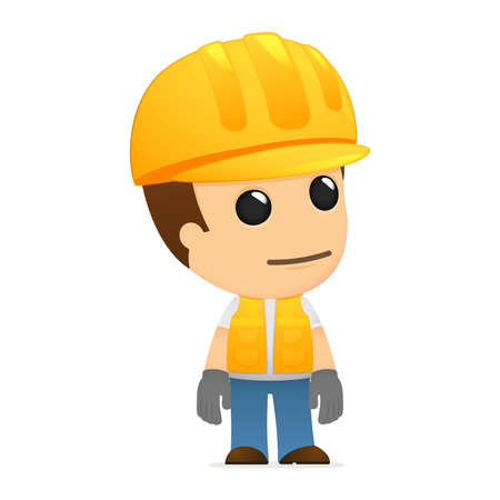 workman: funny cartoon builder Illustration