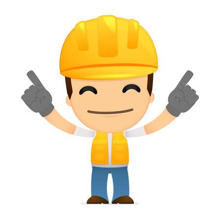 ingeniero caricatura: constructor de divertidos dibujos animados Vectores