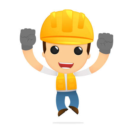 obrero caricatura: constructor de divertidos dibujos animados Vectores