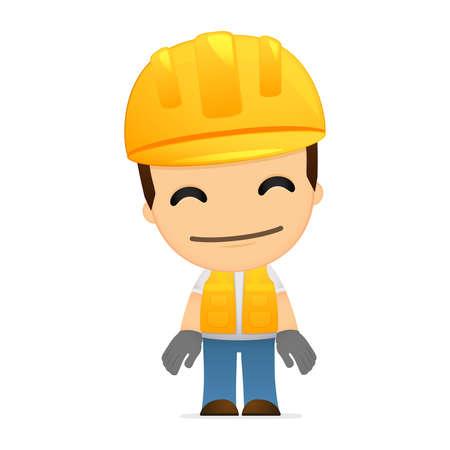 job satisfaction: funny cartoon builder Illustration