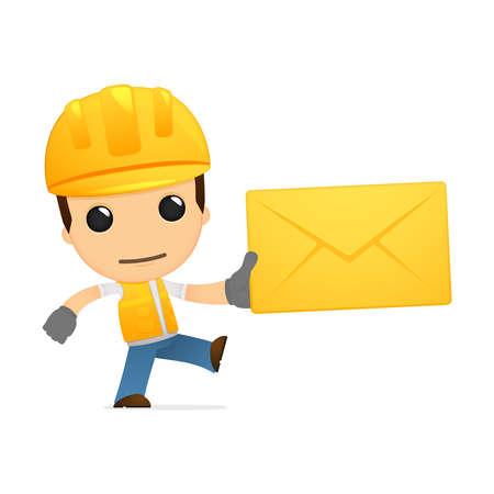 cartoon envelope: funny cartoon builder Illustration