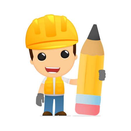 architect drawing: funny cartoon builder Illustration