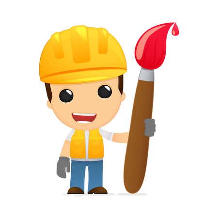 funny cartoon builder Stock Vector - 13312575
