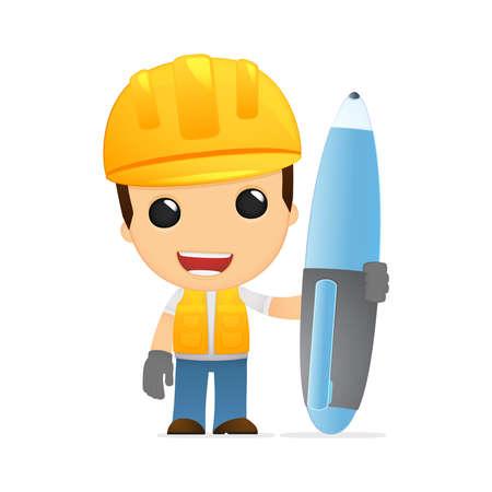 arquitecto caricatura: constructor de divertidos dibujos animados Vectores