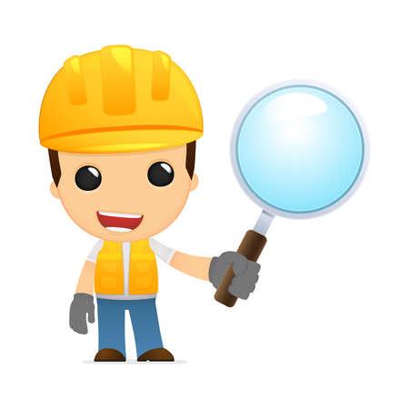 inspect: funny cartoon builder Illustration