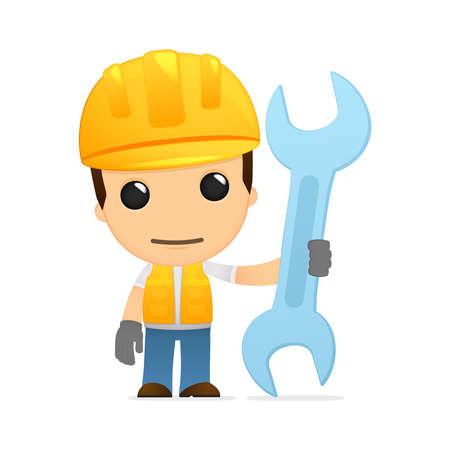 work workman: funny cartoon builder Illustration
