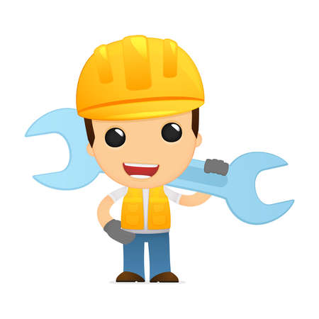 cartoon worker: constructor de divertidos dibujos animados Vectores