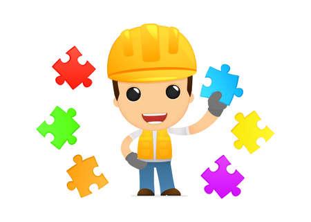 funny cartoon builder Stock Vector - 13312672