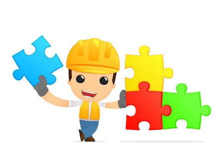 funny cartoon builder Stock Vector - 13312632