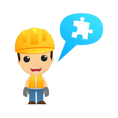 co worker: funny cartoon builder Illustration