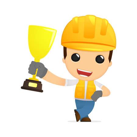 work safety: funny cartoon builder Illustration