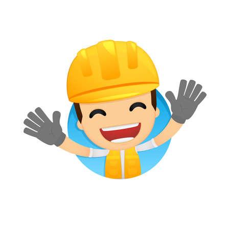 builder: funny cartoon builder Illustration