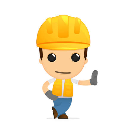 safety at work: funny cartoon builder Illustration