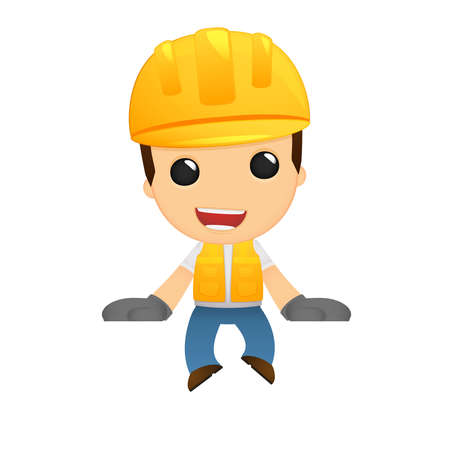 safety helmet: funny cartoon builder Illustration