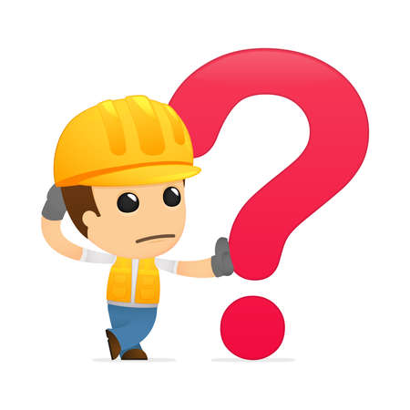 a thinker: funny cartoon builder Illustration