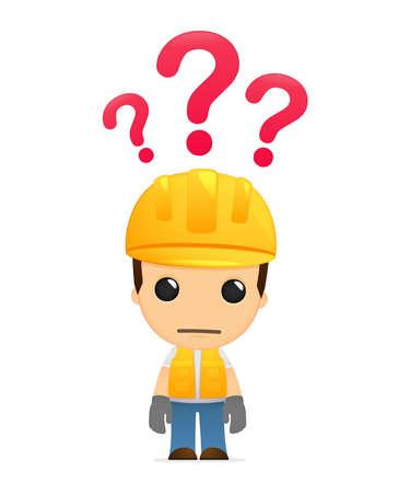 cartoon engineer: funny cartoon builder Illustration