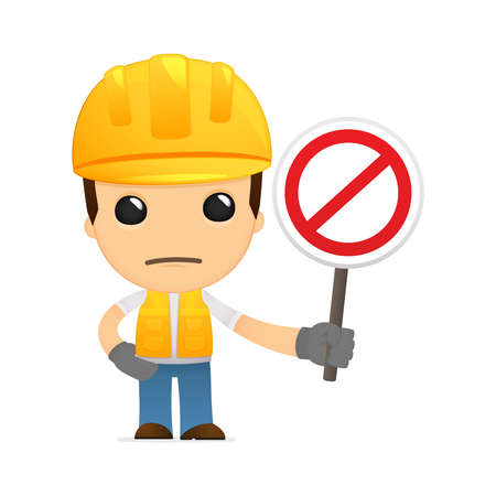 dangerous construction: funny cartoon builder Illustration