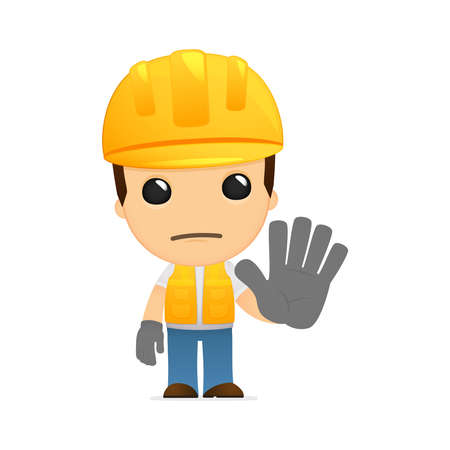 worker cartoon: funny cartoon builder Illustration