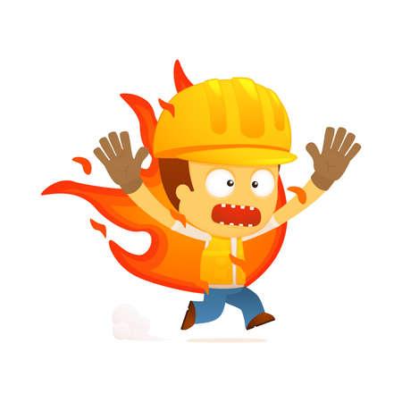 industrial safety: constructor de divertidos dibujos animados Vectores