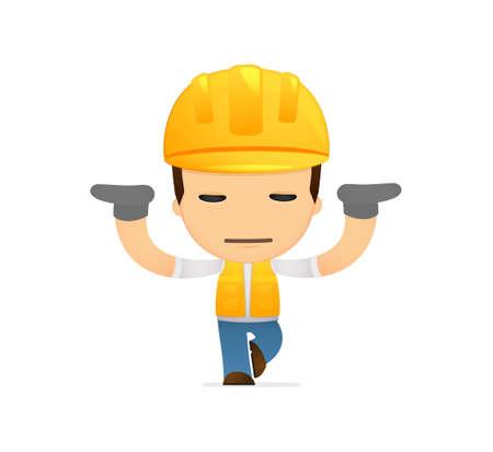 funny cartoon builder Vector