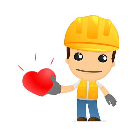 builder symbol: funny cartoon builder Illustration