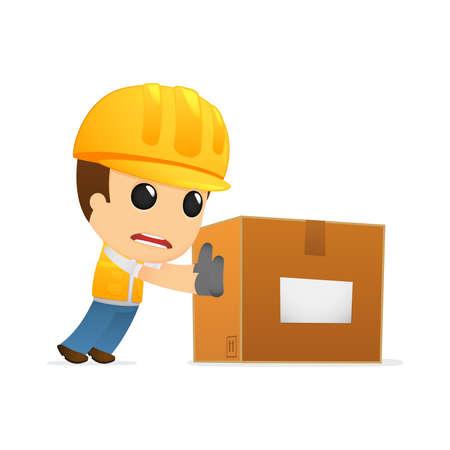 funny cartoon builder Vetores