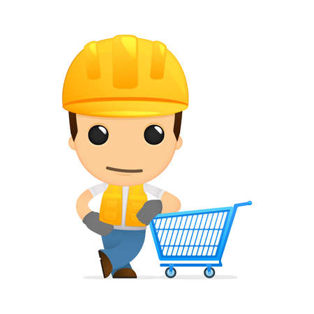supermarket shopper: funny cartoon builder Illustration