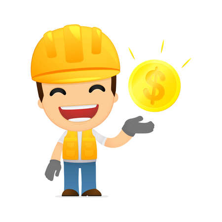 commerce and industry: funny cartoon builder Illustration