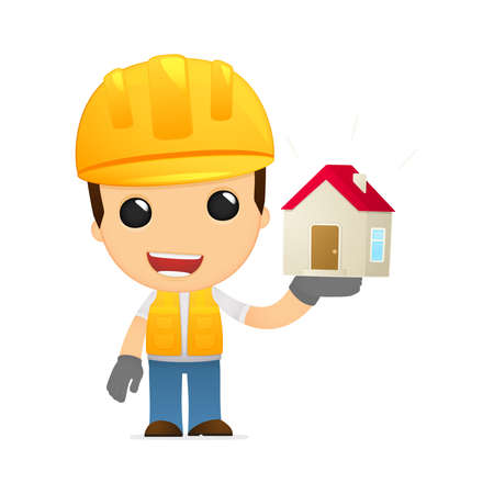 builder symbol: funny cartoon builder Illustration