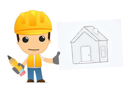 arquitecto: constructor de divertidos dibujos animados Vectores