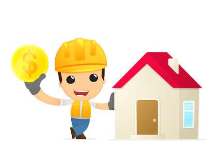 funny cartoon builder Stock Vector - 13312716