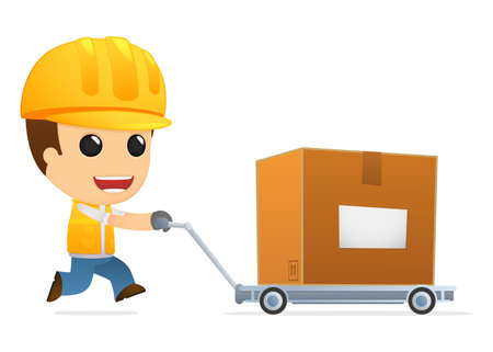 industrial products: funny cartoon builder Illustration