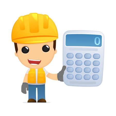 builders: funny cartoon builder Illustration